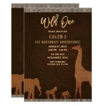 African Safari Jungle Zoo Brown WILD ONE 1st Party Invitation