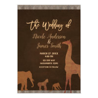 African Safari Jungle Zoo Vintage Wedding Invitation