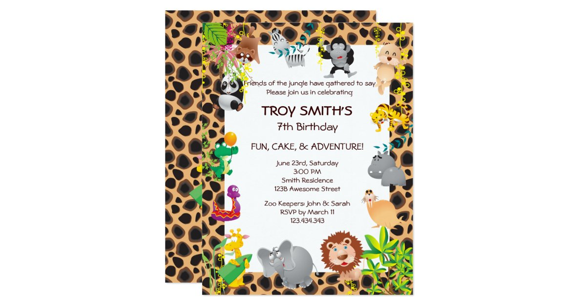 African Safari Kid S Birthday Party Invitation Zazzle