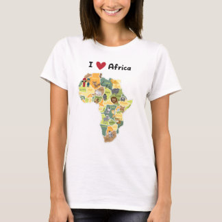 African Safari Map - I Heart Africa - Shirt