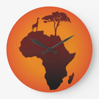 African Safari Map - Wall Clock