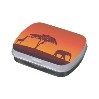 African Safari Silhouette - Candy Tin
