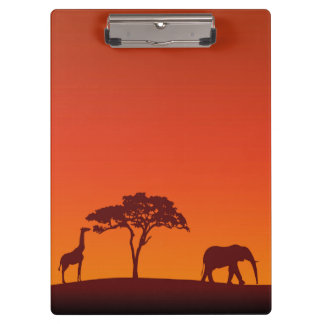 African Safari Silhouette - Clipboard
