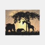 African Safari Silhouette Fleece Blanket