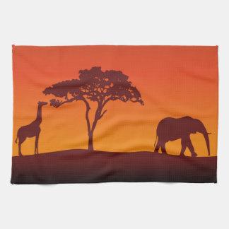 African Safari Silhouette - Kitchen Towel