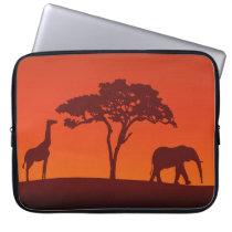 African Safari Silhouette - Laptop Sleeve
