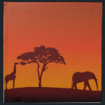 "African Safari Silhouette - Napkin<br><div class=""desc"">African safari silhouette background with a giraffe,  a tree and an elephant.</div>"