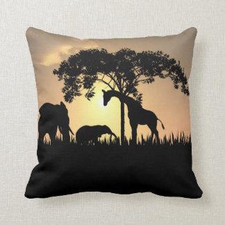 African Safari Silhouette Pillow