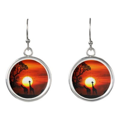 African Safari Sunset Animal Silhouettes Earrings