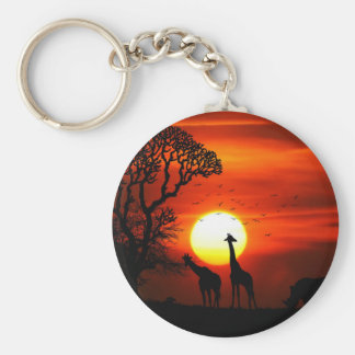 African Safari Sunset Animal Silhouettes Keychain