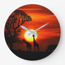 African Safari Sunset Animal Silhouettes Large Clock