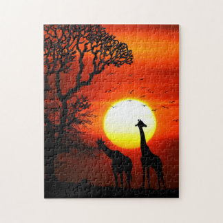 African Safari Sunset Giraffe Silhouettes Jigsaw Puzzle