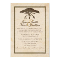 African Safari Two Giraffes & Tree Vintage Wedding Invitation