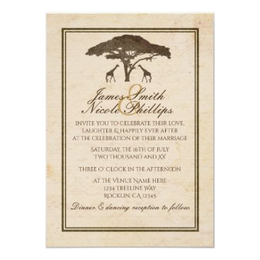 printabledigidesigns African Safari Two Giraffes Vintage Wedding Card