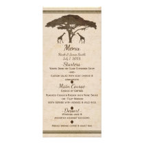 African Safari Two Giraffes Vintage Wedding Menu