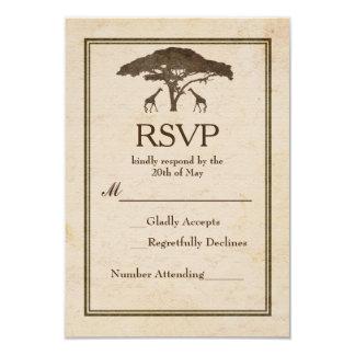 African Safari Two Giraffes Vintage Wedding RSVP Card