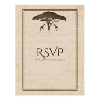 African Safari Two Giraffes Vintage Wedding RSVP Postcard