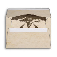 African Safari Two Giraffes Wedding Invitation Envelope
