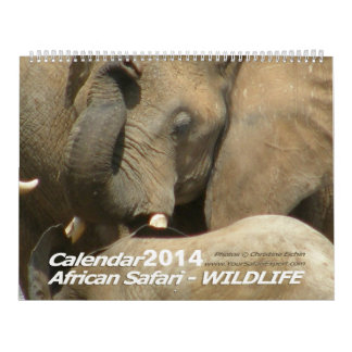 African Safari WILDLIFE Calendar  (Two-Page)