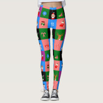 african santa claus colorblock leggings