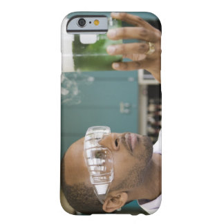 African scientist examining experiment in barely there iPhone 6 case