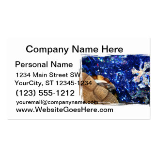 African Sideneck Turtle and Blue tinsel with star Business Card Template