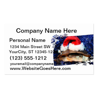African Sideneck Turtle wearing a santa hat Business Card Template