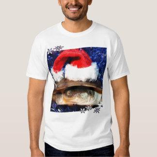 African Sideneck Turtle wearing a santa hat T-shirts
