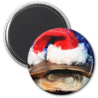 African sideneck turtle wearing santa hat fridge magnet