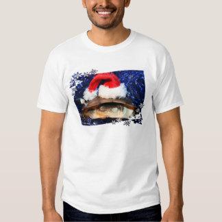 African sideneck turtle wearing santa hat shirts