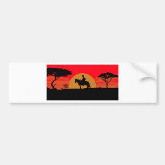 African Somali sunset warrior on horse Bumper Sticker