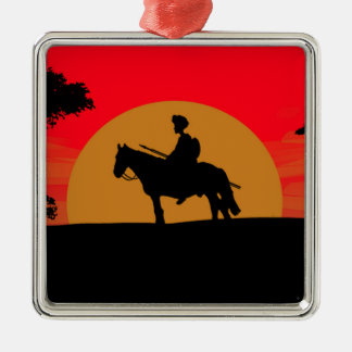 African Somali sunset warrior on horse Metal Ornament