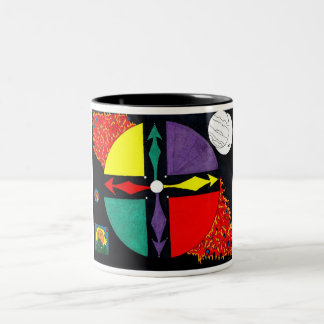African Spirit Wheel Two-Tone Coffee Mug