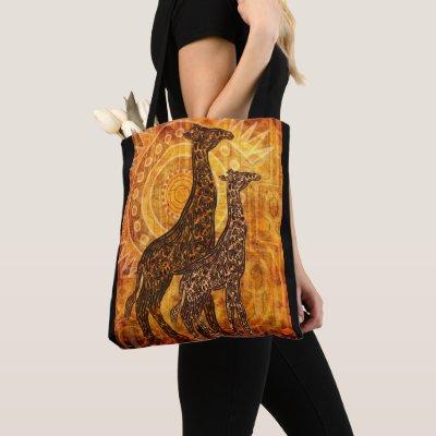 African Summer Giraffes + your ideas Tote Bag