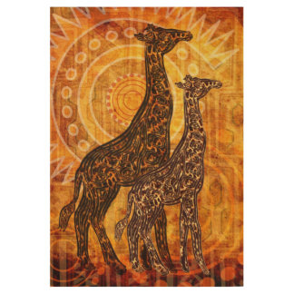 African Summer Giraffes + your ideas Wood Poster