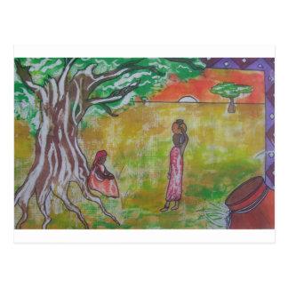 African Sunset Batik Pattern Postcard