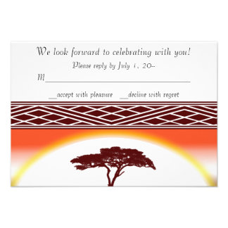 African Sunset Invitation RSVP, Reply