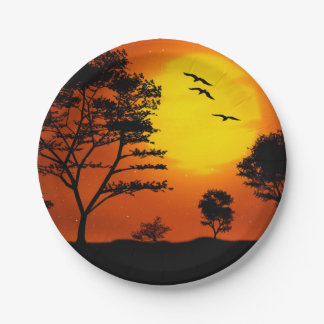 African Sunset Paper Plate