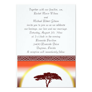 african sunset wedding invitation