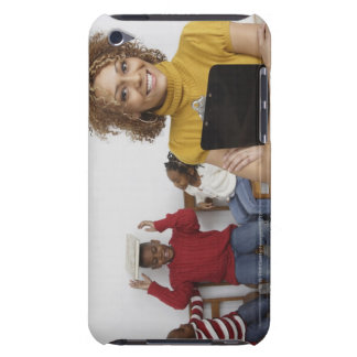 African teacher holding clipboard in front of Case-Mate iPod touch case