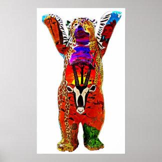 African Teddy Bear, White Back Poster
