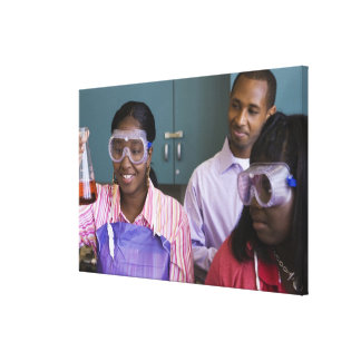 African teenage girl examining experiment in canvas print