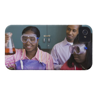 African teenage girl examining experiment in iPhone 4 Case-Mate case
