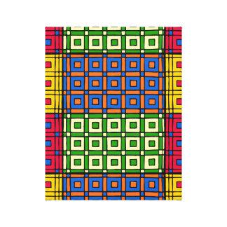African Textile Pattern Squares Canvas Print