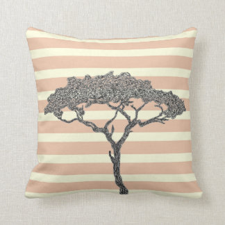 African tree black ink on white pinl stripes throw pillow