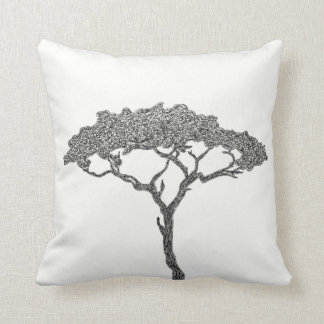 African tree black ink on white throw pillow