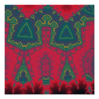 African Triangles, Tribal Fractal - Green and Red Photographic Print