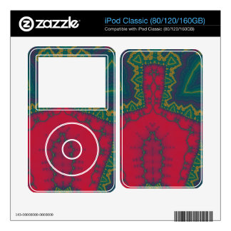 African Triangles, Tribal Fractal - Green and RedA Skin For iPod Classic