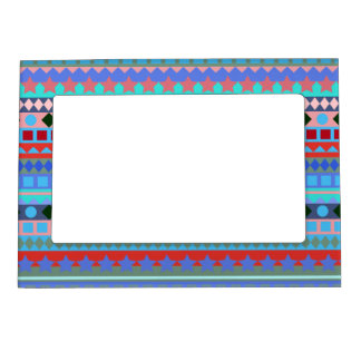 African Tribal Jazz Zigzag Stripes Funky Colorful Magnetic Picture Frame