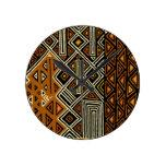 African Tribal Kuba Design Round Clock
